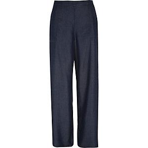 Denim wide leg palazzo pants