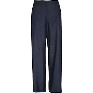 Dark blue denim palazzo pants