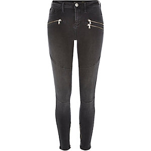 Washed black biker zip Molly jeggings