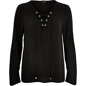 Black lace up eyelet long sleeve top