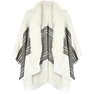 Cream faux fur trim cape