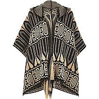 Black knitted boho hooded cape