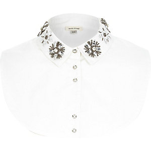 White embellished collar bib