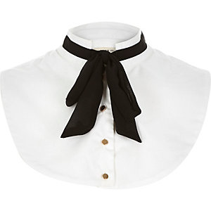 White floppy bow mock collar
