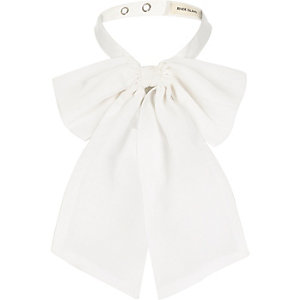 White chiffon floppy neck bow
