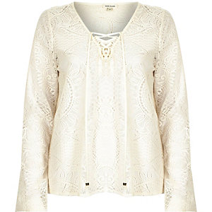 Cream lace lattice lace up blouse