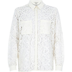 Cream lace long sleeve shirt