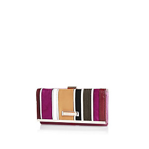 Pink stripe cliptop purse