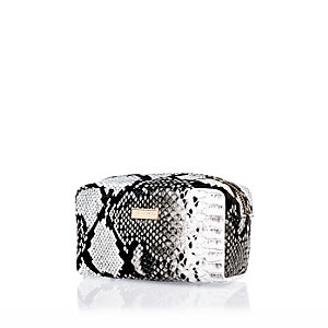 Black snake print make up bag