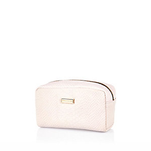 Light pink snake print make up bag