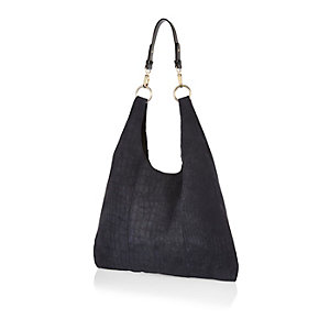 Navy suede slouchy triangle handbag