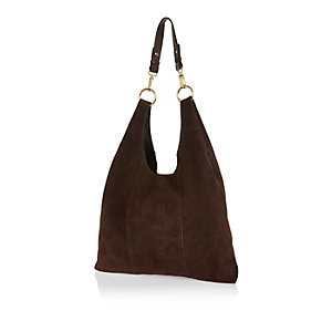 Dark brown suede slouchy triangle handbag