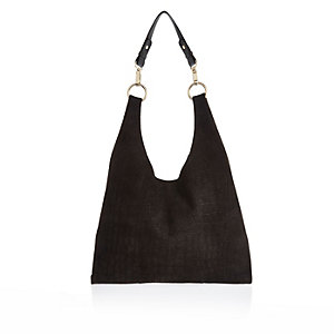 Black suede slouchy triangle handbag
