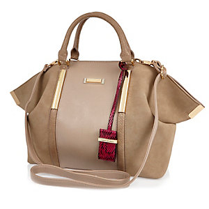 Beige slouchy pinched side handbag