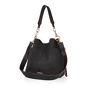 Black slouchy shoulder handbag
