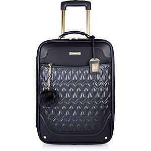 Black quilted wheelie suitcase