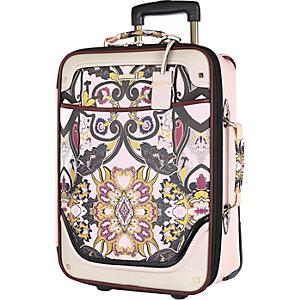 Pink scarf print wheelie suitcase