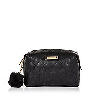 Black quilted make up bag
