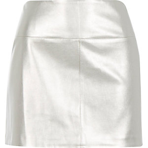 Silver metallic pelmet mini skirt