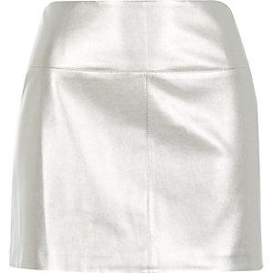 Silver metallic pelmet mini skirt