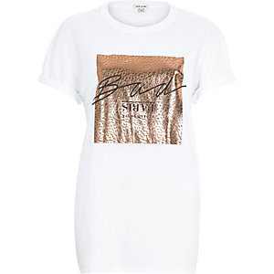 White rose gold foil print oversized t-shirt
