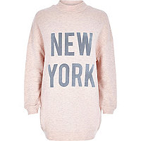 Pink New York print turtle neck sweater