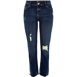 Dark wash ripped hem Stevie straight jeans