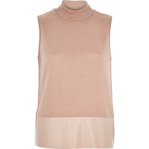 Pink turtle neck contrast hem tank top