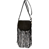 Black leather fringed cross body handbag
