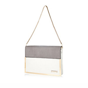 Grey structured clutch bag