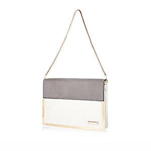 Grey structured clutch handbag