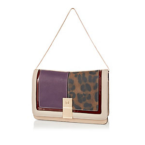 Brown leopard print clutch handbag