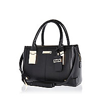 Black mini hinge tote bag
