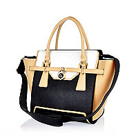 Black padlock winged tote handbag