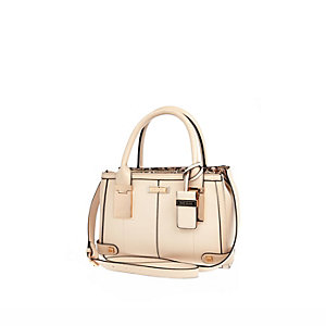 Cream mini hinge handle tote handbag