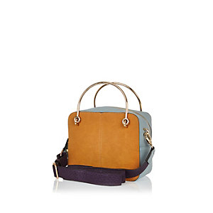 Tan brown colour block boxy handbag
