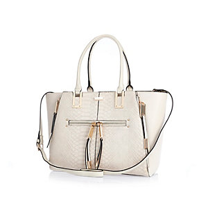 Cream snake print winged tote handbag