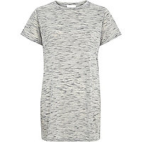 Grey lattice back side split t-shirt