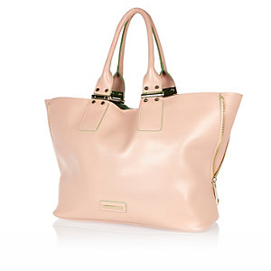 Pink unlined zip side tote handbag