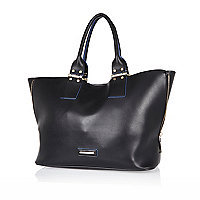 Black unlined zip side tote handbag