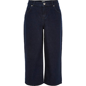 Dark wash denim culottes