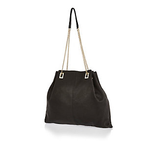 Black leather slouchy chain handbag