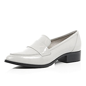 Grey patent leather loafers