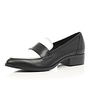 Black and white leather loafers