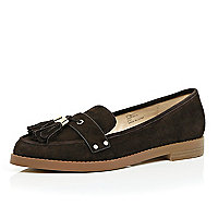 Brown suede tasselled loafers