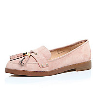 Pink suede tasselled loafers