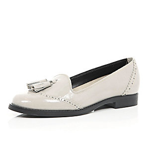 Grey patent leather tassel loafers