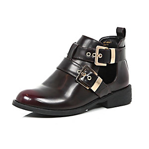 Dark red cut out buckle ankle boots