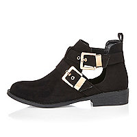Black nubuck buckle cut out boots