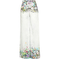 Grey floral print palazzo trousers